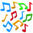 Colorful music notes - Stock Photo