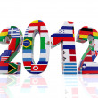 Year 2012 in 3D with flags - Stock Photo