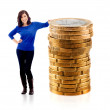 Woman with euro coins — Stock fotografie