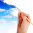 Drawing a blue sky — Stock Photo