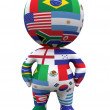 3D guy with the world flags - Stock Photo
