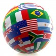 Football with world flags - Stock Photo