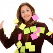 Business wom- post its — Stockfoto #7771510
