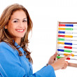 Business woman with abacus — Stockfoto