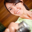 Gym woman with free-weights — Stock Photo #7771606