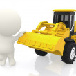 3D guy with a bulldozer - Stock Photo