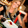 Couple in a romantic dinner — Stock Photo