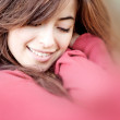 Woman cuddling - Stock Photo
