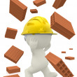 3D construction worker with bricks — Stock Photo #7771724