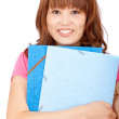 Female student with folders — Stockfoto