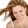 Woman with earphones - Stock Photo