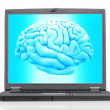 Brain with a laptop — Stockfoto