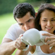 Woman and her sports trainer — Stockfoto