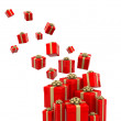 Stock Photo: 3D Gifts falling