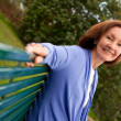 Woman on a bench — Stock Photo