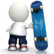 3D Man with skateboard — Stock Photo