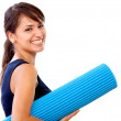 Woman with a mat — Stock Photo