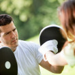 Woman and her sports trainer — Stock Photo #7772307