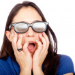 Woman with 3D glasses — Stock Photo