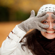 Woman making faces - Stockfoto