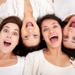 Stock Photo: Surprised women faces
