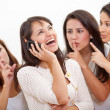 Loud woman on the phone - Stock Photo