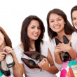 Women shopping for shoes - Stock Photo