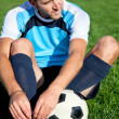 Football player getting ready — Stock Photo