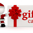 Stock Photo: Santwith gift card