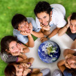 Stock Photo: Group of young ecologists