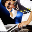 Stock Photo: Disc jockey in nighctlub