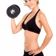 Girl doing free weights — Stock Photo