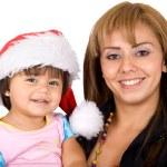 Baby santa and her mum — Stock Photo