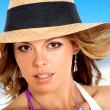 Fashion girl portrait at the beach — Stock Photo