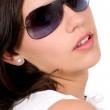 Beautiful fashion girl with sunglasses — Stock Photo