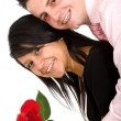 Happy couple with rose — Stock Photo