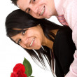 Happy couple with rose — Stock Photo #7772805