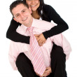 Isolated couple - piggyback — Stock Photo