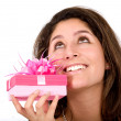 Girl wishing for a good gift — Stock Photo #7772850