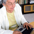 Eldery woman on a laptop - Stock Photo