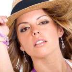 Fashion girl wearing a hat — Stock Photo