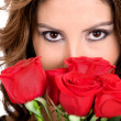 Fashion girl with roses — Stock Photo #7772886