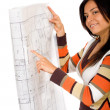 Girl holding blue prints — Stockfoto
