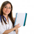 Female doctor with a notebook — Stock Photo