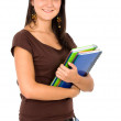 Stock Photo: Female student with notebooks