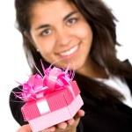 garota de negócios, oferecendo um presente — Foto Stock