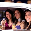 Girls night out in a limousine — Stockfoto