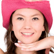 Beautiful girl wearing a pink hat — Stock Photo