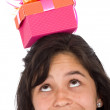 Girl with gift on top - Stock Photo