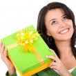 Happy girl with a gift — Stok fotoğraf